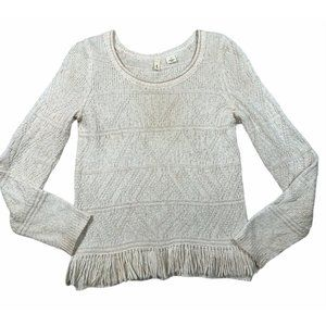 MOTH Anthropologie sz Small Knotted Fringe Cream Boho Pullover Sweater